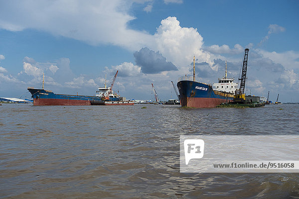 Cargo ships in the Mekong Delta  Can Tho  Vietnam  Asia