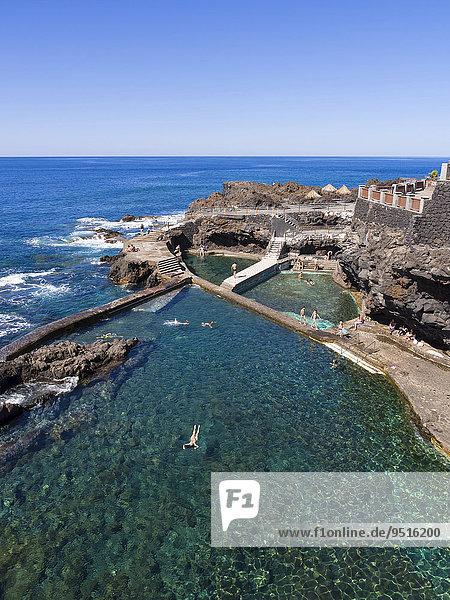 Natural swimming pool near La Fajana  Barlovento  La Palma  Canary Islands  Spain  Europe