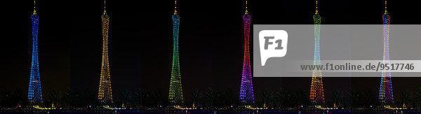 Canton Tower Fernsehturm  bei verschiedenen Beleuchtungen bei Nacht  Guangzhou  Guangdong  China  Asien