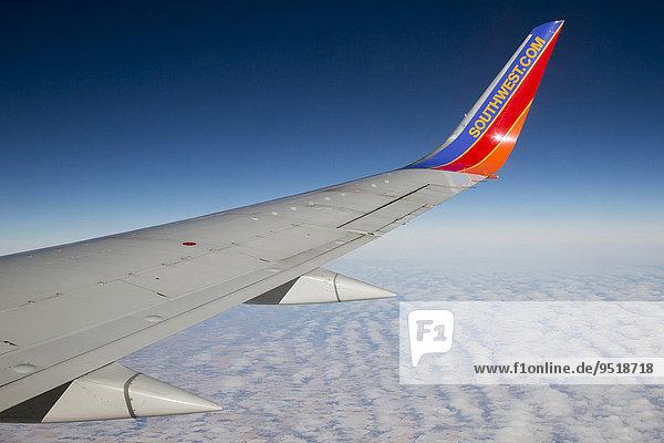 A Southwest Airlines plane flies above Nebraska  USA