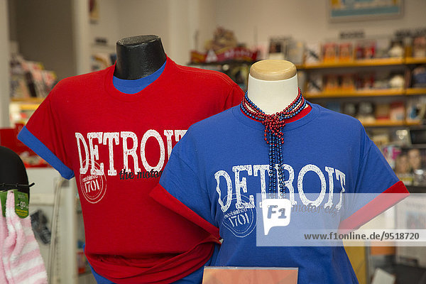 T-shirts on sale in a gift shop at Detroit Metro Airport  Detroit  Michigan  United States  North America