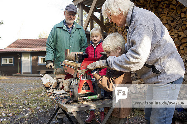zeigen Großmutter Enkelkind Elektrische Energie Säge