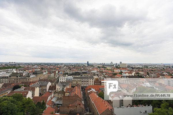 Zagreb Hauptstadt hoch oben Nachbarschaft Ansicht Flachwinkelansicht Winkel Kroatien Ortsteil