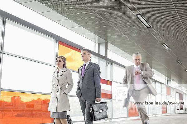 Wirtschaftsperson Kollege gehen rennen Zug Haltestelle Haltepunkt Station