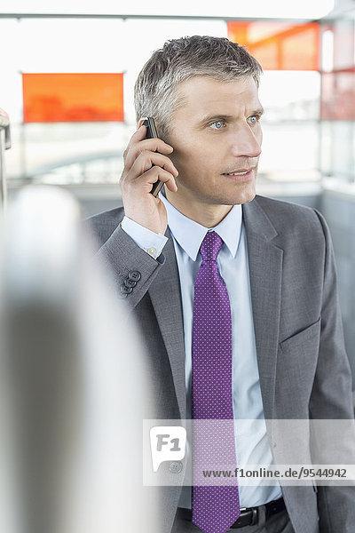 Handy benutzen Geschäftsmann reifer Erwachsene reife Erwachsene Mittelpunkt Haltestelle Haltepunkt Station Zug