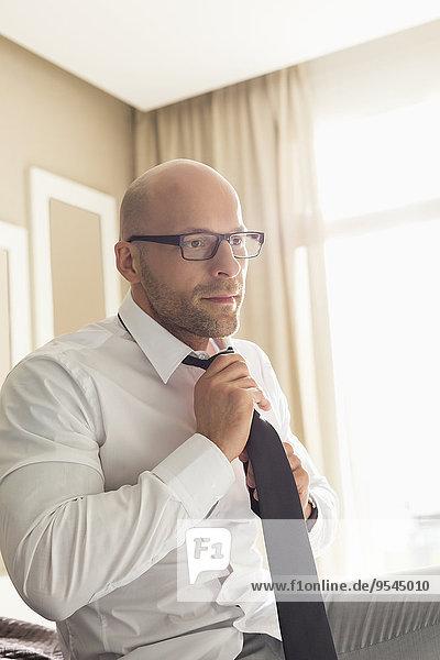 Interior zu Hause Geschäftsmann berichtigen Krawatte Mittelpunkt Erwachsener