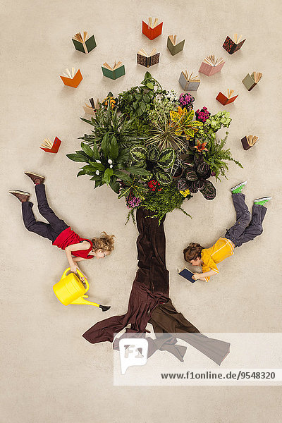 Junge und Mädchen gießen Buchbaum
