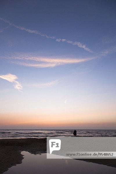 Niederlande  Bloemendaal  Liebhaber am Strand bei Sonnenuntergang