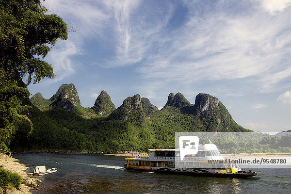 China  Guangxi  Xingping  tourboat on Li river