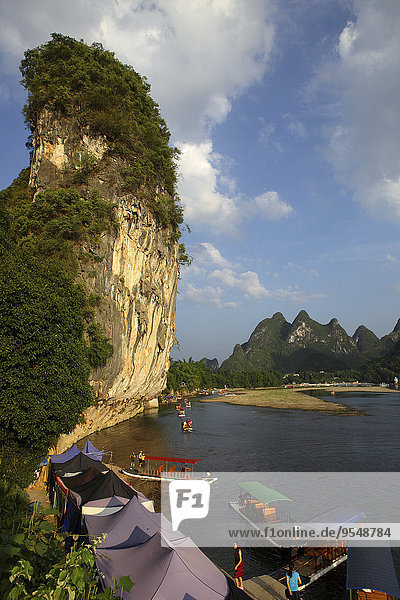 China  Guangxi  boats to transport tourists on Li river near Guilin