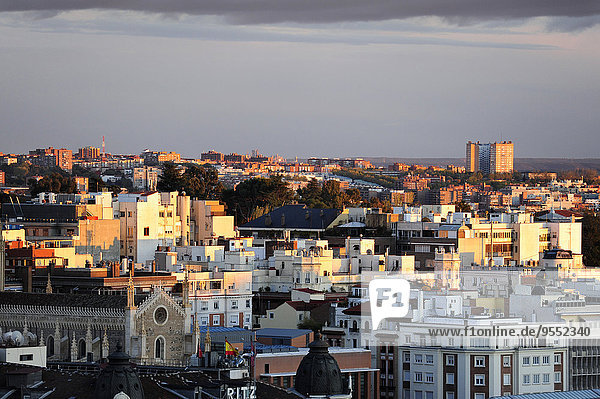 Spain  Madrid  city center  view over the roofs of Paseo del Prado