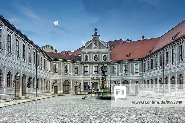 Germany  Bavaria  Munich  Munich Residence  Full moon in the evening