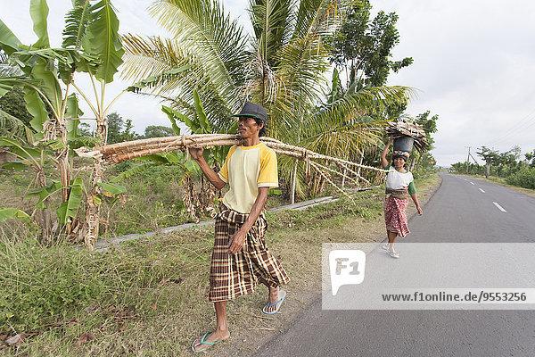Indonesien  Lombok  Mann und Frau beim Holzsammeln