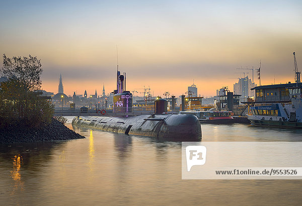 Germany  Hamburg  Russian submarine  Museum ship in the evening