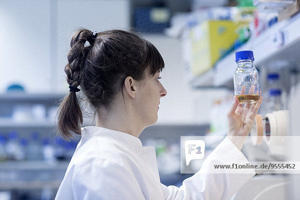 Junge Naturwissenschaftlerin im biologischen Labor