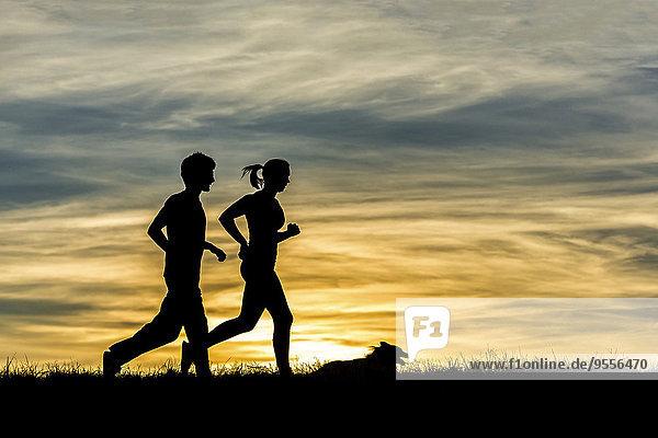 Deutschland  Paar Jogging mit Hund bei Sonnenuntergang