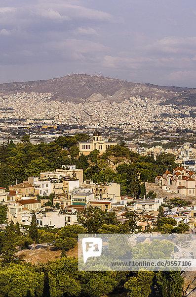 Griechenland  Athen  Stadtbild mit Sternwarte
