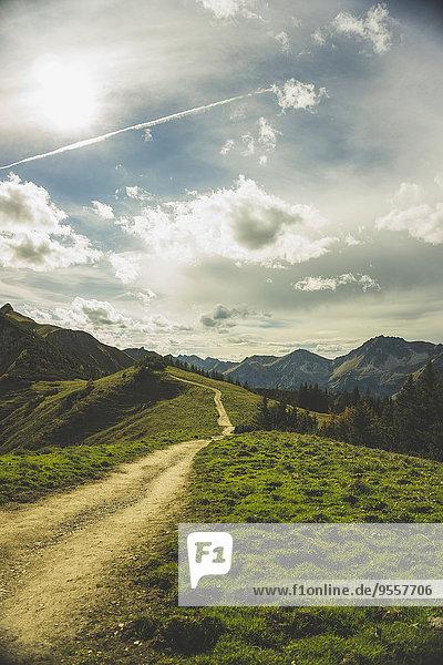 Österreich  Tirol  Tannheimer Tal  Wanderweg in der Bergwelt
