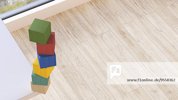 Bausteinstapel an der Ecke der Tischplatte Bausteinstapel an der Ecke der Tischplatte