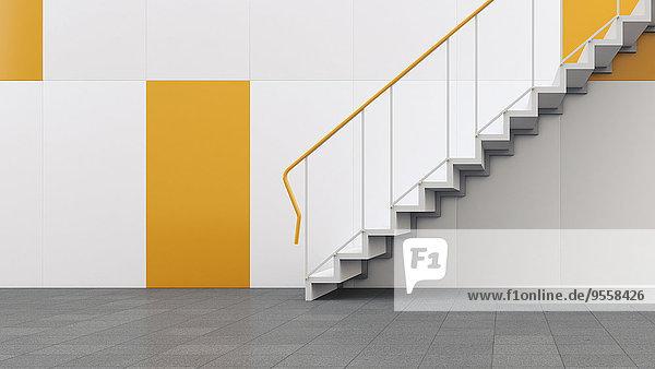 3D-Rendering der Treppe im Gebäude