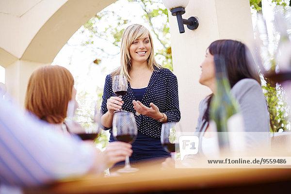 Friends drinking red wine on loggia