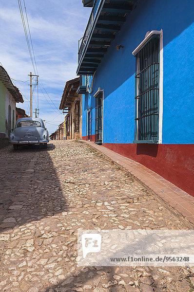Classic Car on Cobblestone Street  Trinidad de Cuba  Cuba