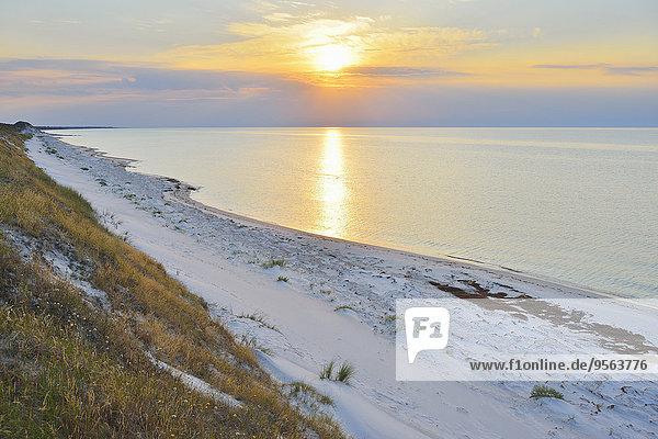 Strand Sommer Sonnenuntergang Meer Baltikum Ostsee Baltisches Meer Darß Deutschland Zingst
