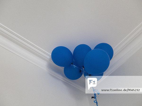 Ansicht der blauen Luftballons gegen die Decke zu Hause im niedrigen Winkel