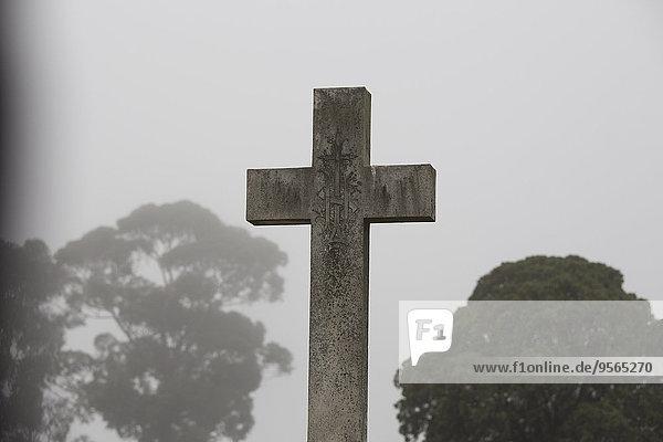 Kreuz auf dem Friedhof gegen klaren Himmel  Melbourne  Victoria  Australien