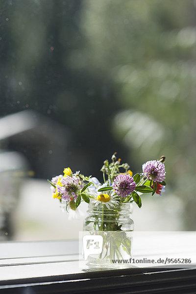 Blumenvase auf Fensterbank