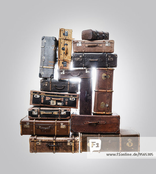 grau,über,Koffer,Hintergrund,Stapel,alt