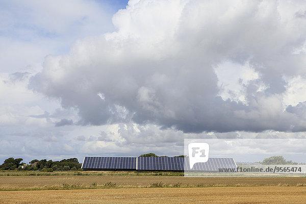 Sonnenkollektoren auf dem Feld gegen bewölkten Himmel
