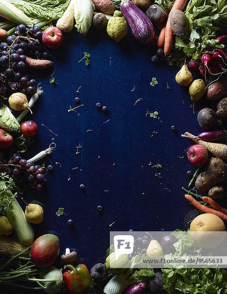 Frische,Frucht,über,Gemüse,Kreis,blau,Form,Formen,schießen,gerade,Tisch