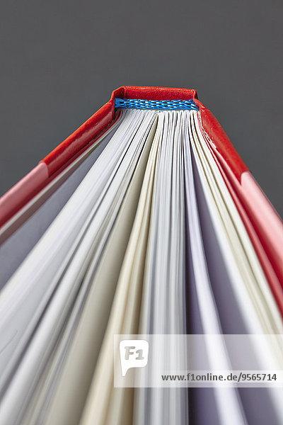 Beschnittenes Bild des Buches vor grauem Hintergrund