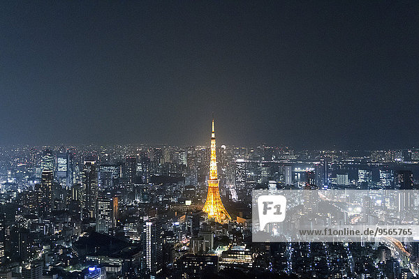 Stadtansicht,Stadtansichten,beleuchtet,Nacht,Himmel,Tokyo,Hauptstadt