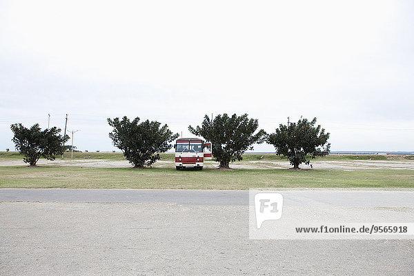 Oldtimer-Bus am Boden geparkt an der Landstraße gegen den Himmel