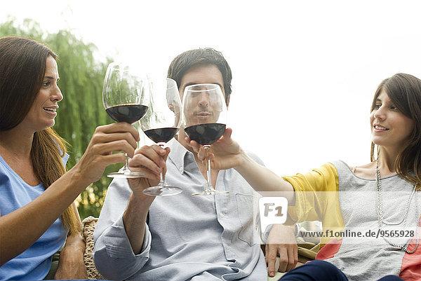 Freunde klirren mit Weingläsern