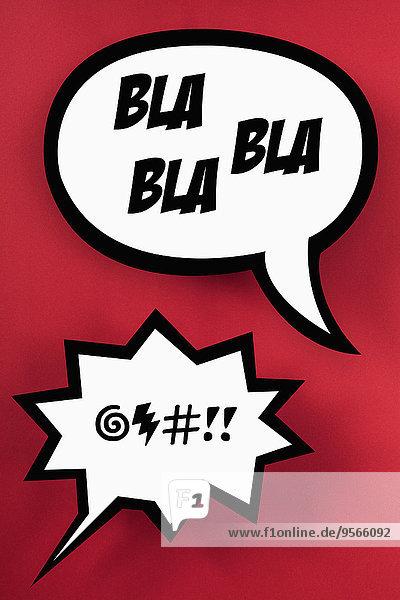 BLA Sprechblase und wütende Sprechblase  roter Hintergrund