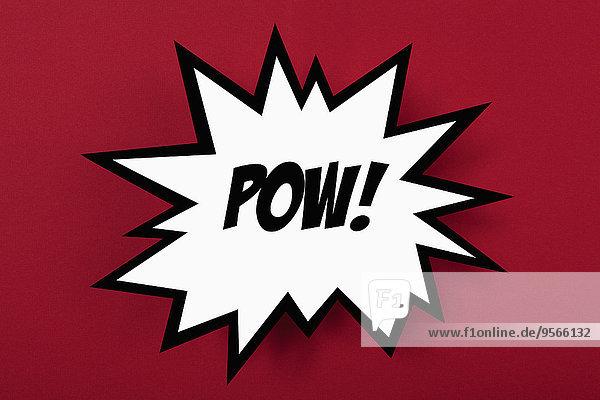 Explodierendes POW!-Schild vor rotem Hintergrund