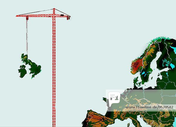 Kran entfernt Großbritannien von Europakarte
