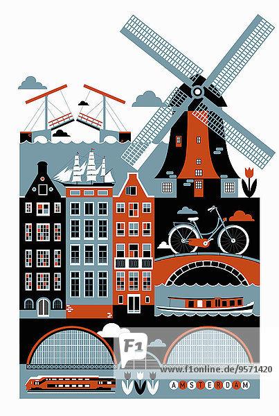 Collage von berühmten Sehenswürdigkeiten in Amsterdam Collage von berühmten Sehenswürdigkeiten in Amsterdam