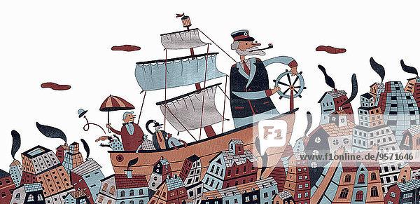Kapitän navigiert Schiff durch eine Stadt Kapitän navigiert Schiff durch eine Stadt
