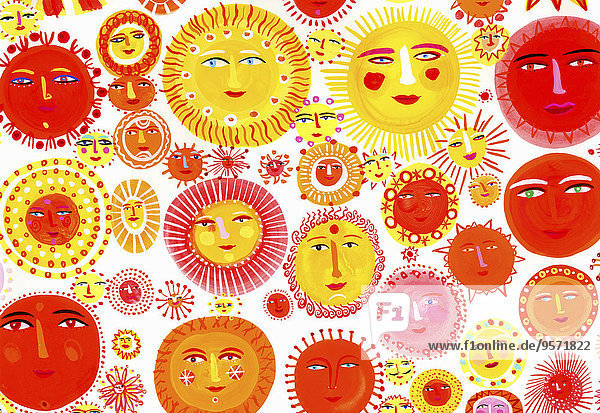 Viele Sonnen mit lächelnden Gesichtern Viele Sonnen mit lächelnden Gesichtern