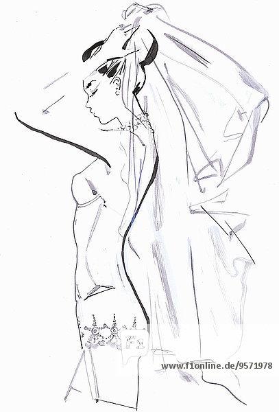 Braut in Unterwäsche zieht sich an