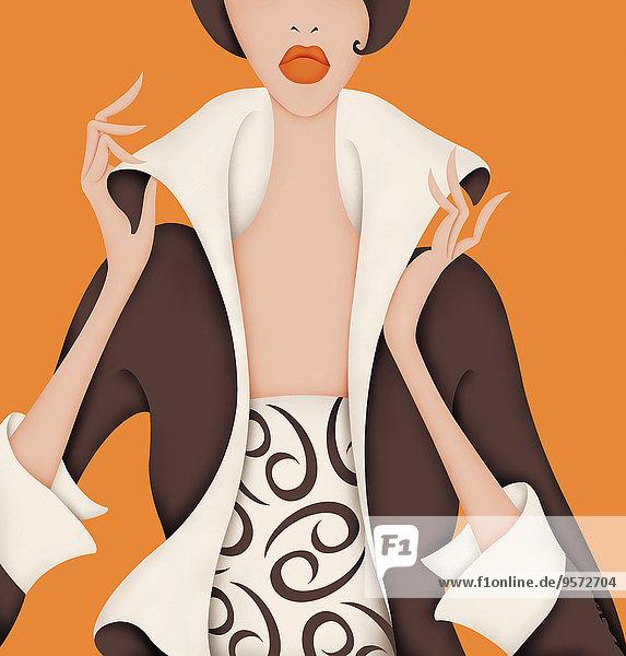 Glamouröse Frau trägt Kleid mit Krebs-Symbol