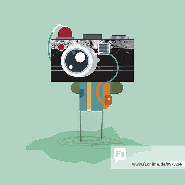 Mensch mit altmodischem Fotoapparat