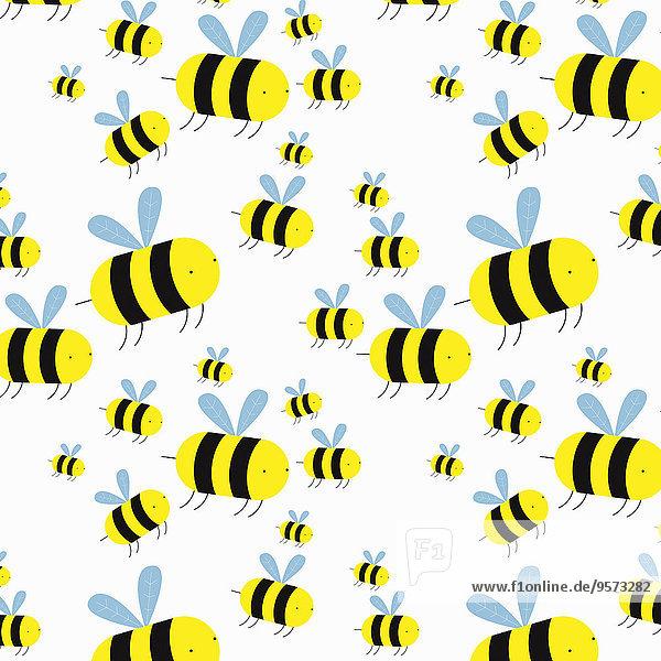 Schwarm von Cartoon-Bienen Schwarm von Cartoon-Bienen