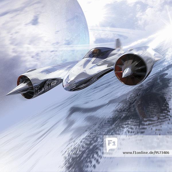 Futuristischer fliegender Düsenjet