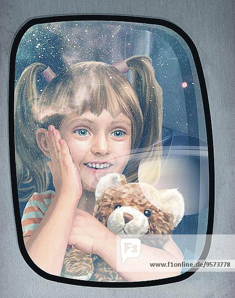 Aufgeregtes Mädchen schaut durch ein Fenster bei einem Weltraumflug