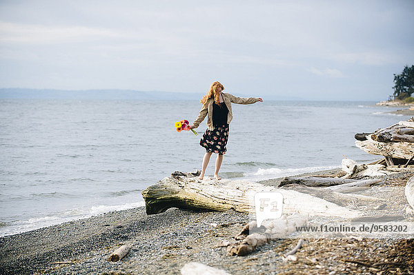 Strand balancieren Mädchen Treibholz